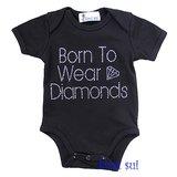 Romper Black Born To Wear Diamonds Rhinestone Black maat 50-80_