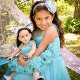 Ruffle Butts Prinses Aqua Blauw Pettidress + Poppenjurk    _