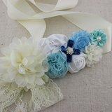Handgemaakte Luxe Rose Garden Vintage Colorful Ivory White Blue Ceintuur + bijpassende haarband_