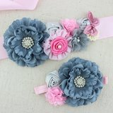 Handgemaakte Luxe Rose Garden Vintage Colorful Gray Pink Ceintuur + bijpassende haarband_