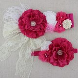 Handgemaakte Luxe Rose Garden Vintage Bigflower Hotpink Ceintuur + bijpassende haarband_
