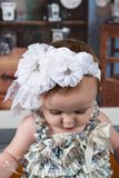 ** Beauty Grote Luxe haarband White Chiffon Beaded Flower _