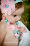 Chunky Ketting Pearl Rose Pink Aquablue  _
