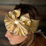 Gouden strik haarband stretch _