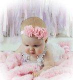 Baby Haarbandje Chiffon flower sparkle roze _