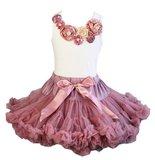 Beauty Feestjurk Petticoat Set Dusty Pink + top & Haarband Luxe Rossette Vintage Pearl 74-134_