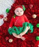 Baby kerstromper glitter kerstboom longsleeve rood _