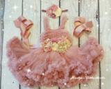 Luxe Feestjurk Pettidress By Meetje Dusty Pink Vintage Flower 62-158_