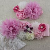 Handgemaakte Luxe Rose Garden Vintage Colorful Pink Ceintuur + bijpassende haarband_