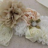 Handgemaakte Luxe Rose Garden Vintage White Cream Camel Ceintuur + bijpassende haarband_