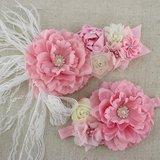 Handgemaakte Luxe Rose Garden Light Pink Cream Ceintuur + bijpassende haarband_
