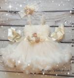 Feestjurk Ivoor Luxe Satin Flower Riem + haarband  56-158_