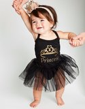 baby tutu jurkje Zwart Princess + Kroon haarband_