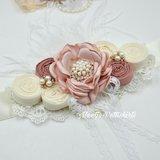 Couture extra luxe handgemaakte Luxe rosette Flower parel Dusty Pink light + bijpassende haarband_