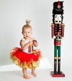 Kerst jurk tutu Rood Goud Top Kado box + Kroon _