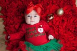 baby kerstjurk First Christmas longsleeve rood groen kerstman & Haarstrik_