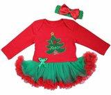 kerst baby jurk rood Groen XMas Tree_