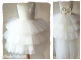 Bruidsmeisje jurk Communie ivoor creme sleep 98-146_