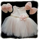 Baby jurk Grote Strik ivoor licht roze 3 delige set_