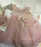 Luxe baby jurk Dusty Pink Couche Tot 3-24 maanden._
