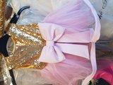 Feestjurk Glitter Grote Strik met Mouwtjes_