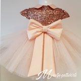 Feestjurk Grote strik Luxe Poeder roze Handmade _