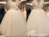 Communie jurk / Bruiloft meisje jurk Brocant ivoor _