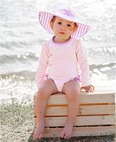 Baby zwempakje lange mouw  streep pink lila 56-92._