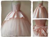 Bruidsmeisje jurk Communie Peach strik 98-146 _