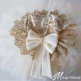 Ultra luxe feestjurk doop en bruiloft jurk Handmade Ivoor gouddraad maat 56 tm 176 _