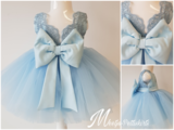 Kinder feestjurk Luxe kant Baby Blauw maat 56 tm 176 _