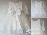 Bruidsmeisje jurk & Doop jurk Pearl Luxe kant Ivoor maat 56 tm 176 _