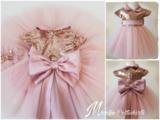 Meisjes Feestjurk Grote strik Luxe Vintage Roze Handmade _
