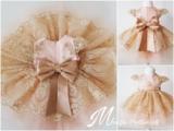 Meisjes Feestjurk Poeder Roze Goud Ultra Luxe Handmade One of a Kind 56 tm 176 _