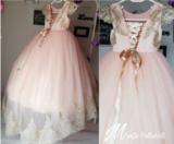 Communie jurk roze goud met sleep Handmade Ultra Luxe_
