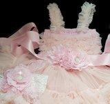 Feestjurk Pettidress By Meetje baby Pink luxe 3delig Romantic Flower_