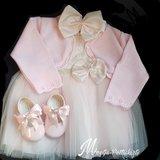 Gehele set Baby jurk strik roze Compleet 4 delig_