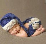 Fotoshoot Kostuum gehaakt Blauw Creme ivoor _
