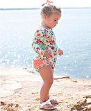 Badpak Paint Flower UV bescherming Flamingo Beach maat 50 tm 104 NEW_