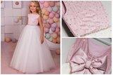 Prinsessenjurk roze met diamantjes en ivoor tulle Handmade NEW_