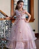 Meisjes feestjurk oud roze lang  flower fantasy NEW_