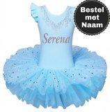 Balletpakje blauw tutu Sparkle Style Met NAAM maat 92-140 NEW_