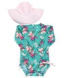 badpak + hoed lange mouw UV bescherming Fancy Me Floral maat 50 tm 104 NEW_