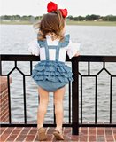 Jeans Gingham Cross-Back Ruffle Romper_