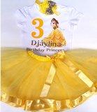Prinses Verjaardag set Geel 1 tm 6 jaar met Naam_