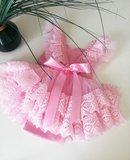 Kanten romper overal met ruffles Roze Luxe Handgemaakt 50 -98 Fotoshoot tip _