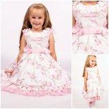 Broderie jurk roze wit Bloemen Kids 86 - 134_