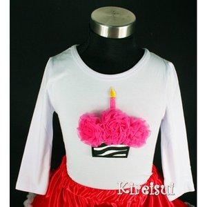 Verjaardag Longsleeve Hotpink Zebra Cupcake 98-104