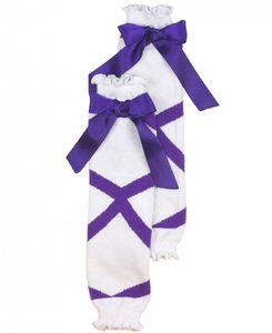 Ruffle Butts White Purple Ballet print Beenwarmer