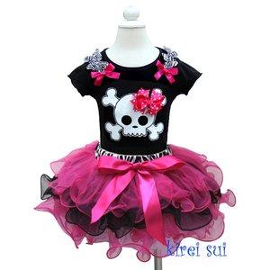 Standaard TUTU Hot Pink Black + Tanktop Skull maat 74-122